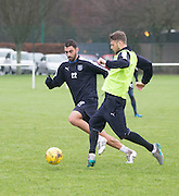 Dundee's new Spanish striker Arturo Juan Rodr&iacute;guez Perez-Reverte shuts down Rory Loy as he trains with his new team mates at the University Grounds, Riverside, Dundee<br /> <br />  - &copy; David Young - www.davidyoungphoto.co.uk - email: davidyoungphoto@gmail.com