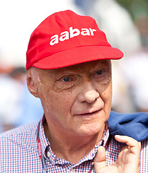 11.09.2011, Autodromo Nationale, Monza, ITA, F1, Grosser Preis von Italien, Monza, im Bild Niki Lauda, ehemaliger Formel 1 Fahrer und Weltmeister mit neuem Kappensponsor - aabar // during the Formula One Championships 2011 Italian Grand Prix held at the Autodromo Nationale, Monza, near Milano, Italy, 2011-09-11, EXPA Pictures © 2011, PhotoCredit: EXPA/ J. Feichter
