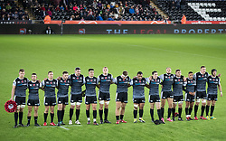 2nd November, Liberty Stadium , Swansea, Wales ; Guinness pro 14's Ospreys Rugby v Glasgow Warriors ;  Ospreys players pay their respects before the game<br /> <br /> Credit: Simon King/News Images<br /> <br /> Photographer Simon King/Replay Images<br /> <br /> Guinness PRO14 Round 8 - Ospreys v Glasgow Warriors - Friday 2nd November 2018 - Liberty Stadium - Swansea<br /> <br /> World Copyright © Replay Images . All rights reserved. info@replayimages.co.uk - http://replayimages.co.uk