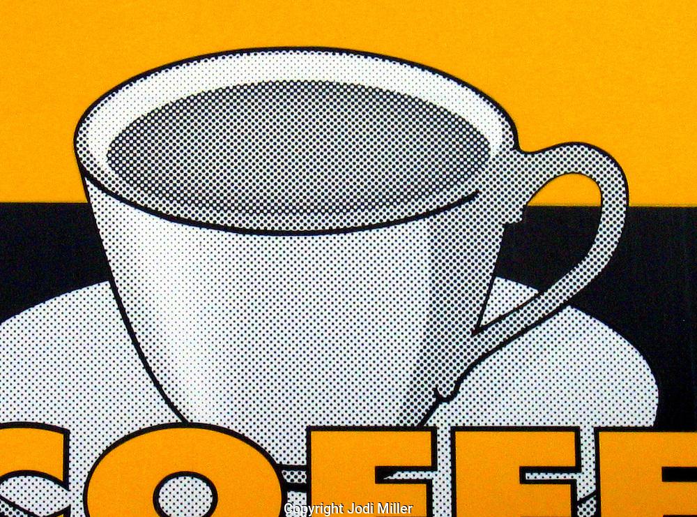 A pop art coffee sign.