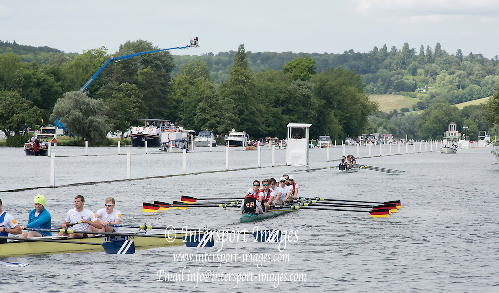 Henley on Thames. United Kingdom.  Heat of the Grand Challenge  Cup. Crefelder & Dorsten GER, head for the start area,    Friday,  01/07/2016,      at the 2016 Henley Royal Regatta, Henley Reach.   [Mandatory Credit Peter Spurrier/ Intersport Images]