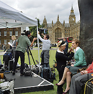 UK, London. The Village Green: From Blair to Brexit.<br /> A story on the relationship between the Media, Politicians and the public as they come together on College Green, a small patch of land next to The Houses of Parliament in Westminster.<br /> Photo shows the Sky News tent on the day Gordon Brown took over as Prime Minister.<br /> Photo@Steve Forrest/Workers' Photos