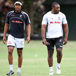 Odwa Ndunganeu and The Beast Mtawarira during the Sharks training session at the Absa Stadium on Tuesday 5th January   Durban, South Africa.. Photo by Steve Haag / Gallo Images