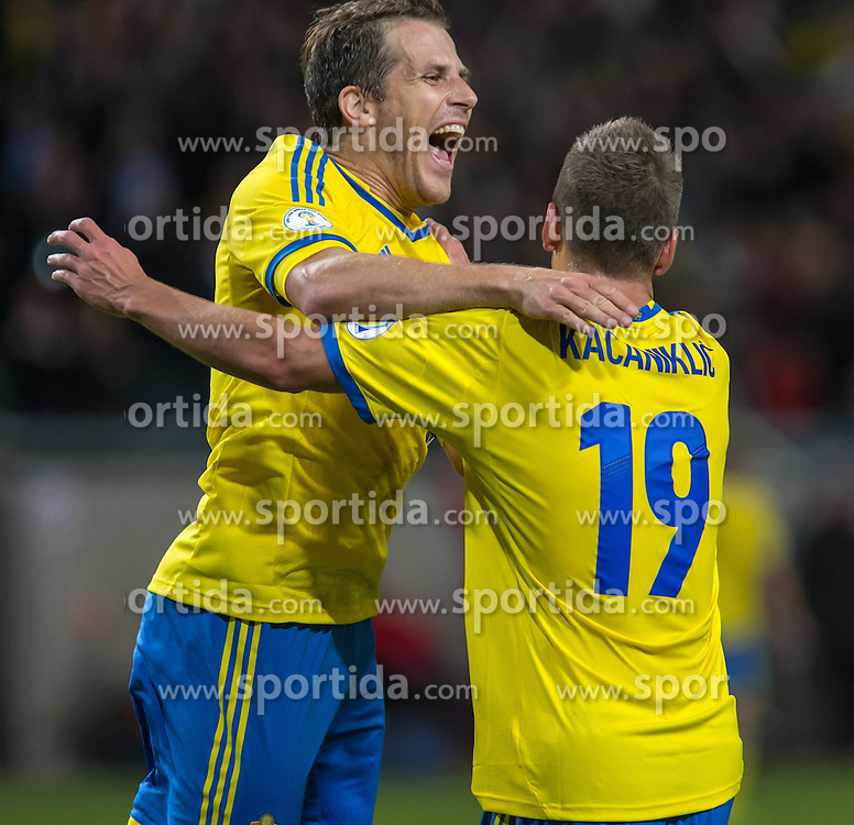 15.10.2013, Friends Arena, Stockholm, SWE, FIFA WM Qualifikation, Schweden vs Deutschland, Gruppe C, im Bild Sverige 19 Alexander Kacaniklic score 2-0,, , Nyckelord , Keywords : football , fotboll , soccer , FIFA , World Cup , Qualification , Sweden , Sverige , Schweden , Germany , Tyskland , Deutschland jubel jublande glad gl©dje lycka happy happiness celebration celebrates // during the FIFA World Cup Qualifier Group C Match between Sweden and Germany at the Friends Arena, Stockholm, Sweden on 2013/10/15. EXPA Pictures © 2013, PhotoCredit: EXPA/ PicAgency Skycam/ Ted Malm<br /> <br /> ***** ATTENTION - OUT OF SWE *****