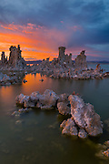 Sunset over the unique rock formations at the south tufa fields in Mono Lake, a unique inland basin that is in danger of drying out one day.