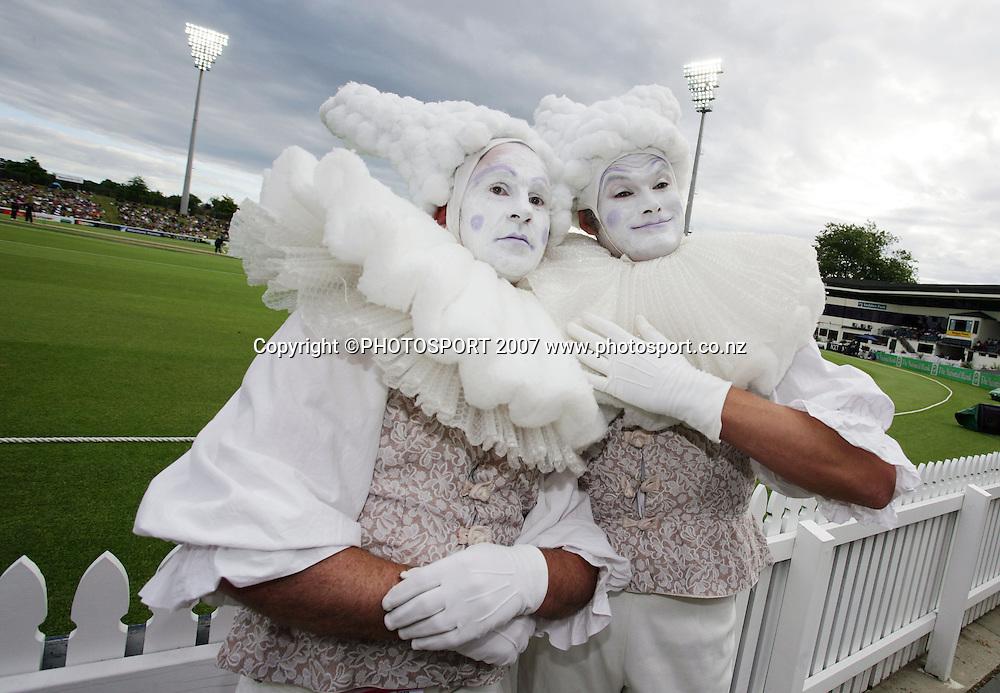 Entertainers during the match. New Zealand XI v Bangladeshis. Bangladesh Cyclone Relief Fund match. Seddon Park, Hamilton, New Zealand. Sunday 23 December 2007. Photo: Hagen Hopkins/PHOTOSPORT