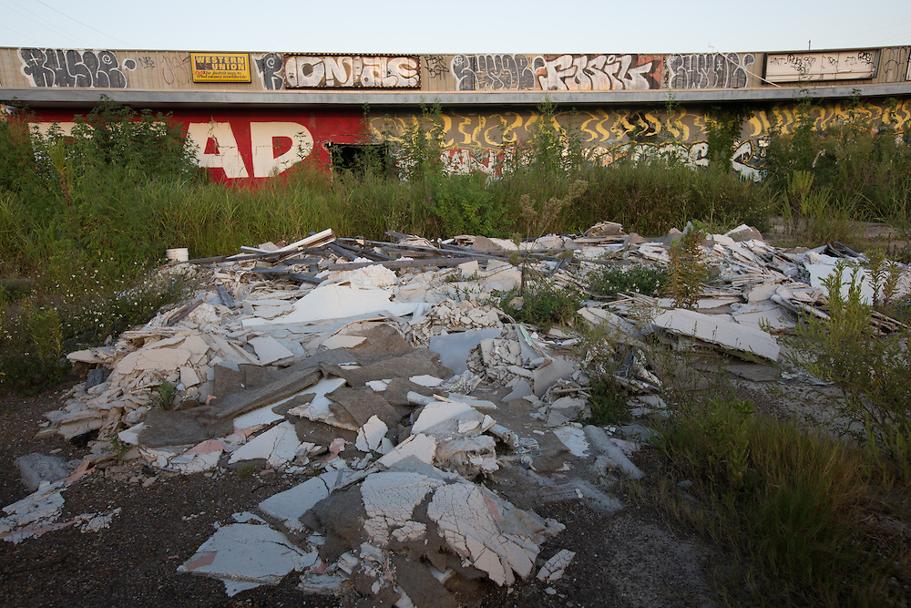 Graffiti  covered blighted  business in the 9th ward, nine years after Hurricane Katrina.