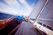 Sailing onboard Windrose of Amsterdam during the Antigua Superyacht Challenge, race one.