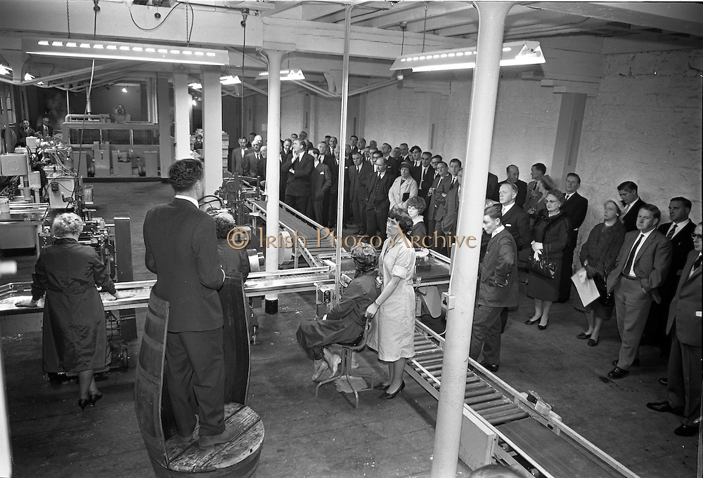 26/09/1962<br /> 09/26/1962<br /> 26 September 1962<br /> Opening of Earl Bottlers Ltd. at South Earl Street, Dublin. Minister for Justice Charles Haughey opened the new premises that produced Sandyman port. Picture shows Director of the company Mr Nigel Beamish addressing guests and staff.