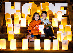 Repro Free: 25/20/2010 Roxane Vance Cronin (5) and Ely Doherty (8) are pictured during a Candle of Hope ceremony to mark the launch of the Global Relay For Life European Summit which is being hosted by the Irish Cancer Society in Dublin today. Pic Andres Poveda..The Global Relay For Life European Summit is an international symposium focusing on how ?We Save Lives? through Relay For Life in communities across the globe. Relay For Life is a 24 hour community celebration event which sees teams of participants take to the track overnight to symbolise the fact that cancer never sleeps. The Irish Cancer Society was chosen this year to host the Summit, which is organised by the American Cancer Society, from the 25th-27th of October 2012....To find out more about Relay For Life, visit www.relayforlife.ie or call 1850 60 60 60. ..ENDS. .For further information, please contact:.Grainne O'Rourke / Órla Sheils.Communications, Irish Cancer Society.E: gorourke@irishcancer.ie / osheils@irishcancer.ie .T: 01 231 0546 / 01 231 055 / 087 9707709