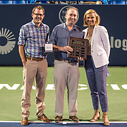 August 23, 2016, New Haven, Connecticut: <br /> The Dave Solomon Media Award is presented to Pat Eaton-Robb of the Associated Press during Day 5 of the 2016 Connecticut Open at the Yale University Tennis Center on Tuesday, August  23, 2016 in New Haven, Connecticut. <br /> (Photo by Billie Weiss/Connecticut Open)