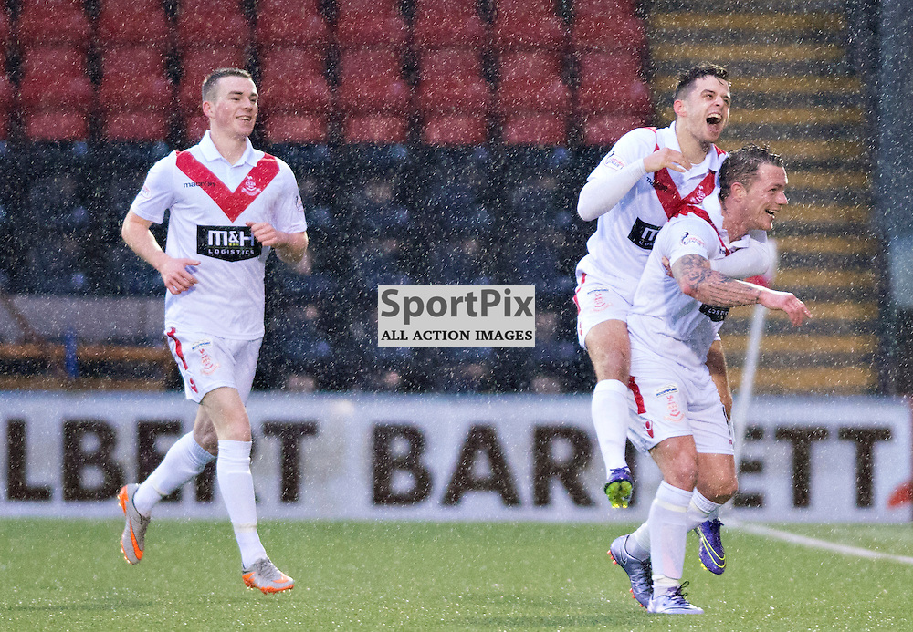 Delighted - Airdrie's David Cox shows his delight alongside a team mate after he opened the scoring against former club Peterhead......(c) BILLY WHITE | SportPix.org.uk