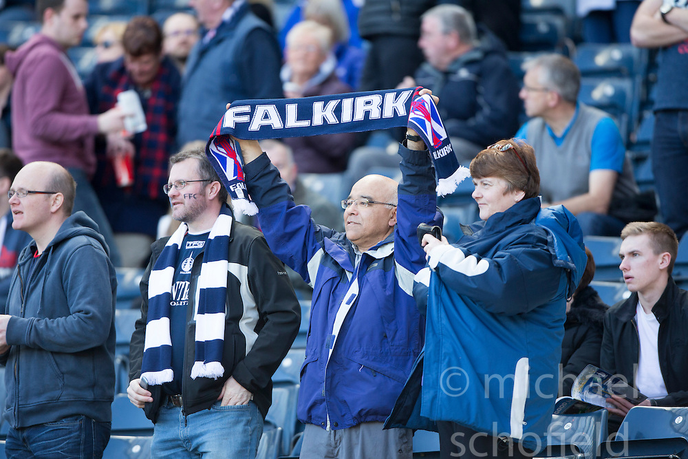 Falkirk fans before the start.<br /> Hibernian 0 v 1 Falkirk, William Hill Scottish Cup semi-final, played 18/4/2015 at Hamden Park, Glasgow.