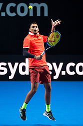 January 7, 2019 - Sydney, NSW, U.S. - SYDNEY, AUSTRALIA - JANUARY 07: Nick Kyrgios (AUS) watches the ball at The Sydney FAST4 Tennis Showdown on January 07, 2018, at Qudos Bank Arena in Homebush, Australia. (Photo by Speed Media/Icon Sportswire) (Credit Image: © Steven Markham/Icon SMI via ZUMA Press)