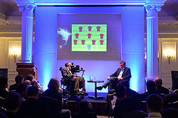 Professor Stephen Hawking reveals the findings of 'A Brief History of How England Can Win The World Cup' a study commissioned by Paddy Power at The Savoy, London, UK.<br /> <br /> Professor Stephen Hawking reveals the most successful formation for England is the 4-3-3.<br /> <br /> Wednesday, 28th May 2014. Picture by Ben Stevens / i-Images