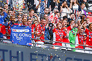 Charlton Athletic players lift the play off trophy during the EFL Sky Bet League 1 play off final match between Charlton Athletic and Sunderland at Wembley Stadium, London, England on 26 May 2019.