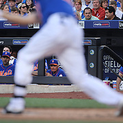 Manager Terry Collins, New York Mets, watching from the dugout during the New York Mets Vs Arizona Diamondbacks MLB regular season baseball game at Citi Field, Queens, New York. USA. 10Th July 2015. Photo Tim Clayton