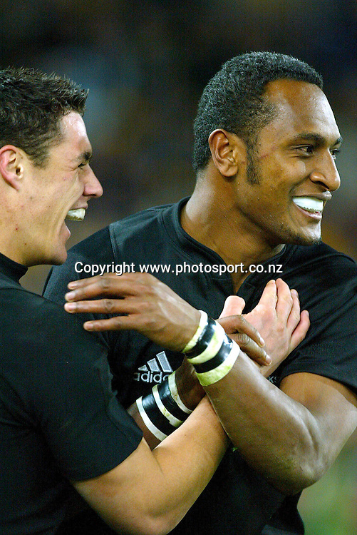 26th July, 2003. Telstra Stadium, Sydney, Australia. Bledisloe Cup match.<br />Daniel Carter celebrates with Joe Rokocoko.<br />Pic: Photosport
