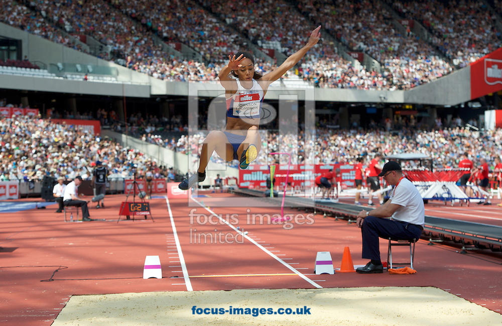 Katarina Johnson-Thompson (Great Britain) competing in the Women&rsquo;s long jump during the M&uuml;ller Anniversary Games in the Stadium at Queen Elizabeth Olympic Park, London, UK<br /> Picture by Alan Stanford/Focus Images Ltd +44 7915 056117<br /> 23/07/2016