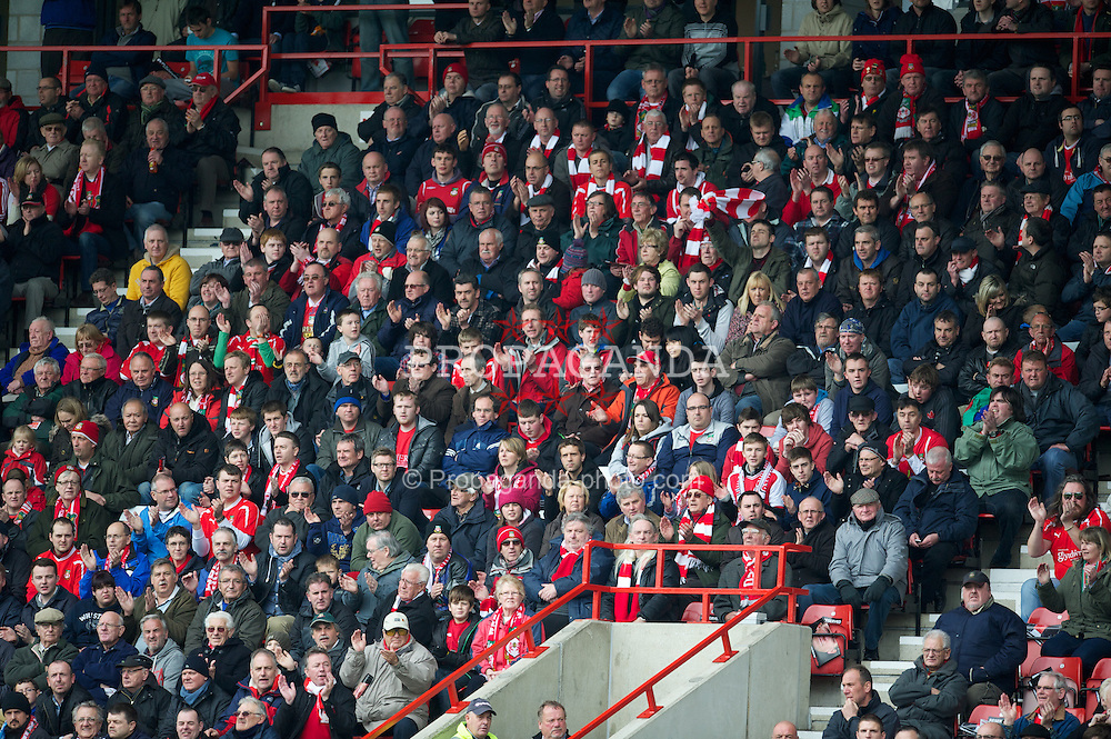 WREXHAM, WALES - Monday, May 7, 2012: Wrexham supporters during the Football Conference Premier Division Promotion Play-Off 2nd Leg against Luton Town at the Racecourse Ground. (Pic by David Rawcliffe/Propaganda)