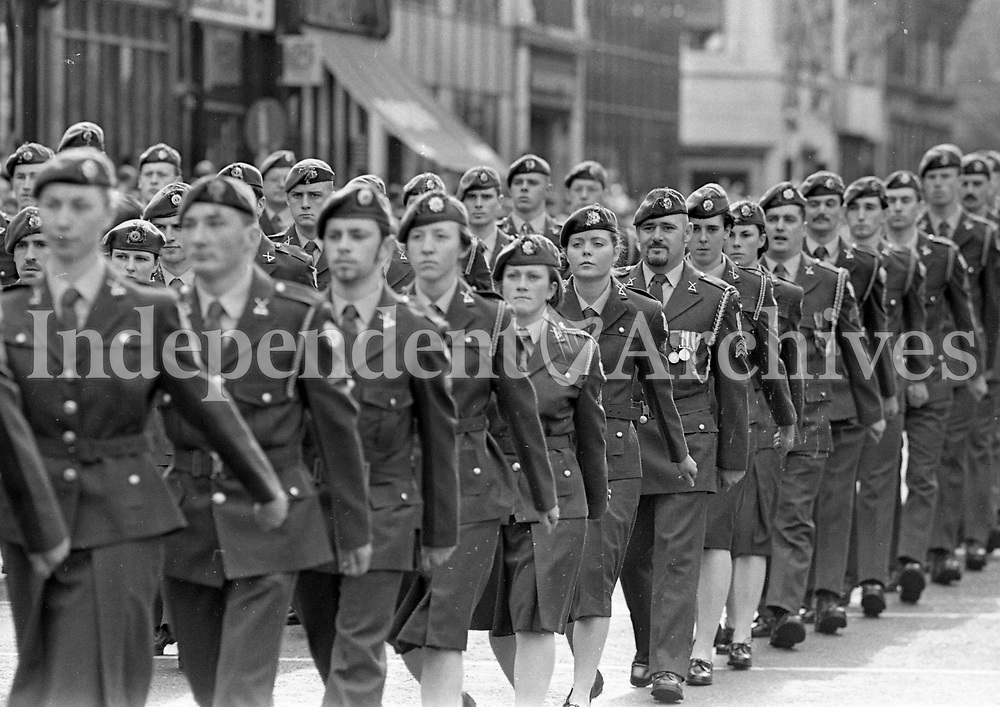 Irish Army marching in the St Patrick's Day Parade in O'Connell Street, Dublin, 17/03/1997 (Part of the Independent Newspapers Ireland/NLI Collection).