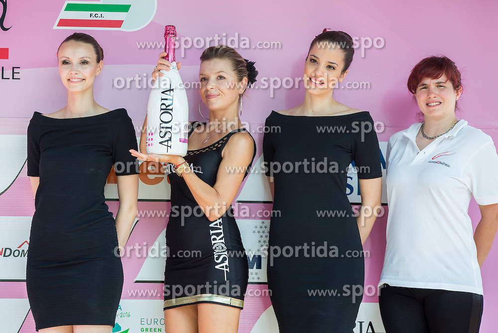 Flower ceremony after the Stage 1 (102,5 km) from Kamnik to Ljubljana at 26th Giro Rosa 2015 Women cycling race, on July 4, 2015 in BTC City, Ljubljana,  Slovenia. Photo by Vid Ponikvar / Sportida
