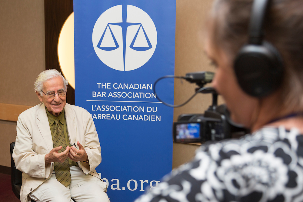 Joe Schlesinger, 2013 recipient of Stephen Hanson Awards (formerly the Justicia Awards) for Excellence in Journalism, sponsored by the Canadian Bar Association. Canadian Bar Association 2013 Conference, Saskatoon, Saskatchewan.