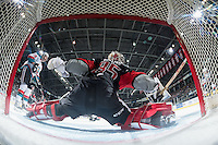 KELOWNA, CANADA - JANUARY 18: Brody Willms #35 of the Moose Jaw Warriors makes a spread eagle save against the Kelowna Rockets on January 18, 2017 at Prospera Place in Kelowna, British Columbia, Canada.  (Photo by Marissa Baecker/Shoot the Breeze)  *** Local Caption ***