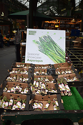 Aspargus stall, Borough market, London UK Mrach 2019