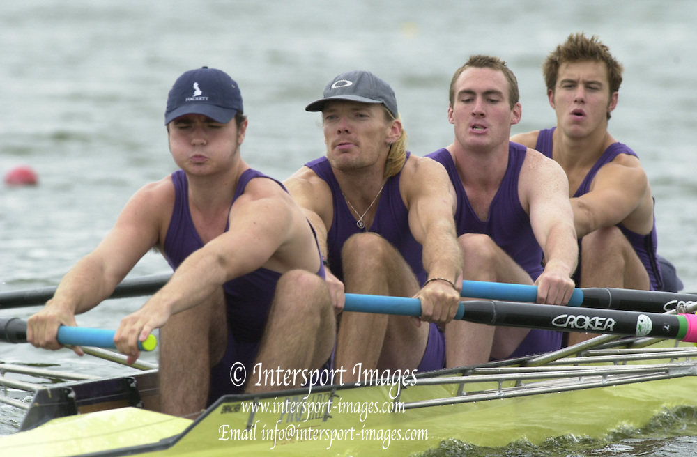 Nottingham, National Rowing Championship.<br /> 2001 Championships<br /> Photo Peter Spurrier.<br /> <br /> Sat 21th July 2001<br /> Sydney 2000 gold Medallist, Tim Foster, rowing at No.3 (Second from left) for his crew, University of London. Event  coxed fours (M4+) at the National Rowing Championships &ndash; National Water Centre Nottingham     [Mandatory Credit;Peter SPURRIER;Intersport Images] 20010723 National Rowing Championships, Nottingham. UK