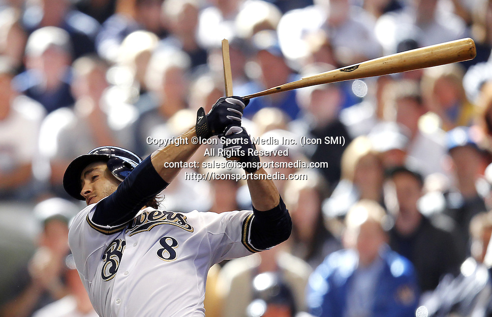 Oct. 1, 2011 - Milwaukee, WI, USA - Ryan Braun with a broken bat single in the bottom of the fifth in the Miluwakee Brewers' 4-1 win over the Arizona Diamondbacks during the National League Divisional Series opener at Miller Park in Milwaukee, Wisconsin, on Saturday, October 1, 2011