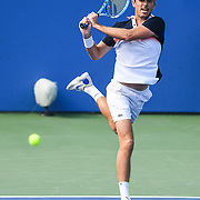 EDOUARD ROGER-VASSELIN hits a backhand at the Rock Creek Tennis Center.