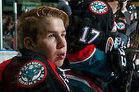 KELOWNA, CANADA - OCTOBER 26: Brodan Salmond #31 of the Kelowna Rockets sits on the bench against the Victoria Royals on October 26, 2016 at Prospera Place in Kelowna, British Columbia, Canada.  (Photo by Marissa Baecker/Shoot the Breeze)  *** Local Caption ***