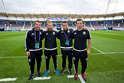 TOULOUSE, FRANCE - Sunday, June 19, 2016: Wales' Ronan Kavanagh, Jamie Benito Plans, sports science coach Adam Owen, head of performance Ryland Morgans during a training session at the Stadium de Toulouse ahead of the final Group B UEFA Euro 2016 Championship match against Russia. (Pic by David Rawcliffe/Propaganda)