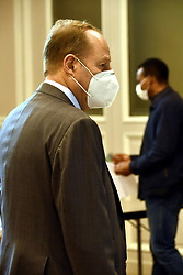 Mayor of Paris' 15th district Philippe Goujon attends a face masks distribution to small business owners at the town hall on April 27, 2020 in Paris, France. Photo by Karim Ait Adjedjou/Avenir Pictures/ABACAPRESS.COM