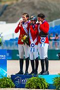 Prizegiving Jumping 1. Simone Blum - DSP Alice, 2. Martin Fuchs - Clooney, 3. Steve Guerdat - Bianca<br /> FEI World Equestrian Games Tryon 2018<br /> © DigiShots - Jon Stroud Media