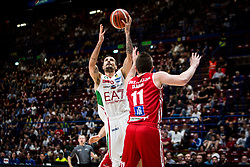 April 29, 2018 - Milan, Milan, Italy - Andrea Cinciarini (#20 EA7 Emporio Armani Milano) shoots a layup during a basketball game of Poste Mobile Lega Basket A between  EA7 Emporio Armani Milano vs VL Pesaro at Mediolanum Forum, in Milan, Italy, on April 29, 2018. (Credit Image: © Roberto Finizio/NurPhoto via ZUMA Press)