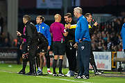 Referee Darren Drysdale has words with Notts county Manager Kevin Nolan during the EFL Sky Bet League 2 match between Notts County and Coventry City at Meadow Lane, Nottingham, England on 18 May 2018. Picture by Jon Hobley.