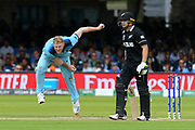 Ben Stokes of England bowling during the ICC Cricket World Cup 2019 Final match between New Zealand and England at Lord's Cricket Ground, St John's Wood, United Kingdom on 14 July 2019.