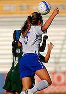 5 JUNE 2010 -- FENTON, Mo. -- Liberty High School's Haley Baldridge (5) battles Pattonville High School's Samantha Zoltanski (9) for control of the ball during the Class 3 championship game at the MSHSAA girls' soccer tournament Saturday, June 5, 2010 at the Anheuser-Busch Center in Fenton, Mo. Photo © copyright 2010 by Sid Hastings.