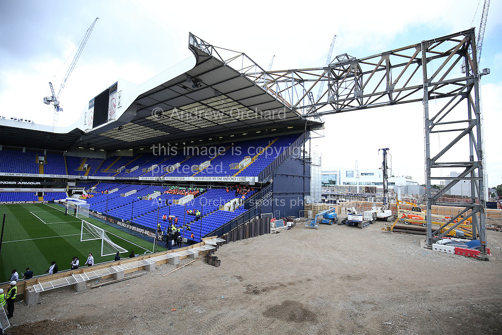 Construction from one of the corners at White Hart Lane Stadium before k/o. Premier league match, Tottenham Hotspur v Crystal Palace at White Hart Lane in London on Saturday 20th August 2016.<br /> pic by John Patrick Fletcher, Andrew Orchard sports photography.
