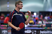 SO Poland athlete Czeslaw Swoboda in action whiletable tennis competition during fifth day of the Special Olympics World Games Los Angeles 2015 on July 29, 2015 at Los Angeles Convention Centre in Los Angeles, USA.<br /> <br /> USA, Los Angeles, July 29, 2015<br /> <br /> Picture also available in RAW (NEF) or TIFF format on special request.<br /> <br /> For editorial use only. Any commercial or promotional use requires permission.<br /> <br /> Adam Nurkiewicz declares that he has no rights to the image of people at the photographs of his authorship.<br /> <br /> Mandatory credit:<br /> Photo by &copy; Adam Nurkiewicz / Mediasport