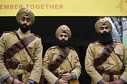 April 28, 2018 - London, UK - Volunteers from the National Army Museum in historic uniforms dressed as the 15th Sikh Ludhiana Regiment from World War 1 during the festival of Vaisakhi in Trafalgar Square, hosted by the Mayor of London. For Sikhs and Punjabis, the festival celebrates the spring harvest and commemorates the founding of the Khalsa community over 300 years ago. (Credit Image: © Stephen Chung/London News Pictures via ZUMA Wire)
