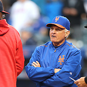 NEW YORK, NEW YORK - May 19: Manager Terry Collins #10 of the New York Mets and Manager Dusty Baker #12 of the Washington Nationals at home plate before the Washington Nationals Vs New York Mets regular season MLB game at Citi Field on May 19, 2016 in New York City. (Photo by Tim Clayton/Corbis via Getty Images)