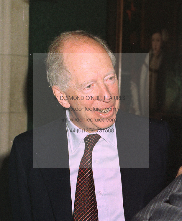 LORD ROTHSCHILD  at a party in London on 3rd November 1997.MCU 6