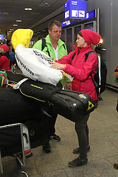 14.02.2014, Fraport, Fankfurt, GER, Sochi, 2014, Ankunft, im Bild Olympiasiegerin Carina Vogt, // during the Arrival of Olympic Skijumping Champion Carina Vogt at the Fraport in Fankfurt, Germany on 2014/02/14. EXPA Pictures © 2014, PhotoCredit: EXPA/ Eibner-Pressefoto/ RRZ<br /> <br /> *****ATTENTION - OUT of GER*****