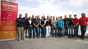 The skippers and co-skippers of the Barcelona World Race 2007-08. From left to right: Damian Foxall & Jean-Pierre Dick (Paprec-Virbac); Michele Paret & Dominique Wavre (Temenos II); Seb Josse & Vincent Riou (PRB); Pachi Rivero & Javier Sanso (Mutua Madrileña); Alex Thomson & Andrew Cape (Hugo Boss); Roland Jourdain & Jean-Luc Nélias (Veolia Environement); Servane Escoffier & Albert Bargués (Educacion sin Fronteras); Sidney Gavignet & Jérénie Beyou (Delta Dore); Jonathan McKee & Guillermo Altadill (Estrella Damm)