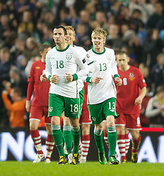 DUBLIN, IRELAND - Tuesday, February 8, 2011: Republic of Ireland;s Keith Fahey (#18)celebrates scoring the third goal against Wales during the opening Carling Nations Cup match at the Aviva Stadium (Lansdowne Road). (Photo by David Rawcliffe/Propaganda)