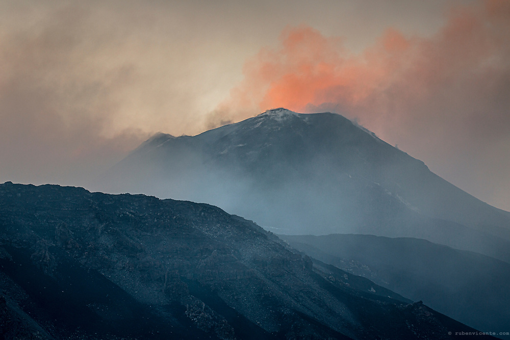 Smoke on top of Etna volcano. Sicily, Italy