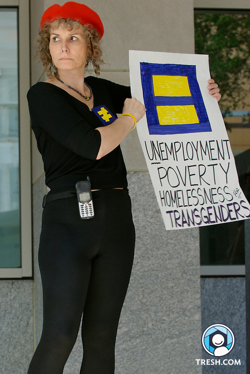 Transgender activist Vanessa Edwards Foster protests HRC for not encouraging members of Congress to vote against a non-transgender-inclusive version of the Employment Non-Discrimination Act (ENDA) at the Human Rights Campaign Annual National Dinner, Saturday, October 6, 2007, held in the Washington D.C. Convention Center.